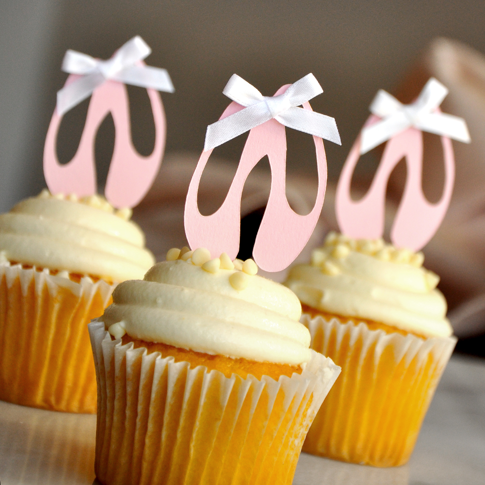 Ballerina Cupcake Toppers.  Ships in 1-3 Business Days.  Ballerina Party Decorations.  Ballet Slippers  12CT.
