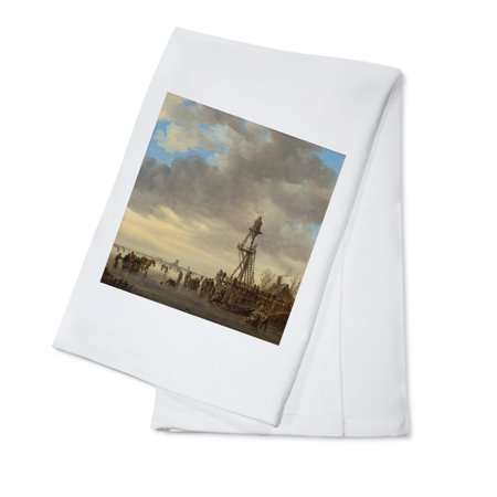 - Ice Scene near a Wooden Observation Tower - Masterpiece Classic - Artist: Jan van Goyen c. 1646 (100% Cotton Kitchen Towel)