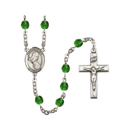 St. Philomena Silver-Plated Rosary 6mm May Green Fire Polished Beads Crucifix Size 1 3/8 x 3/4 medal charm ()