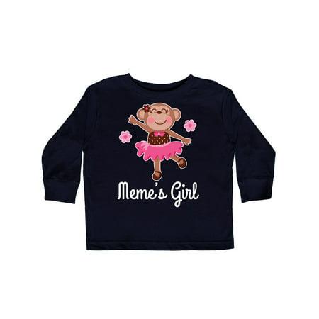 Meme Girl Ballerina Monkey Toddler Long Sleeve T-Shirt - Long Armed Monkey