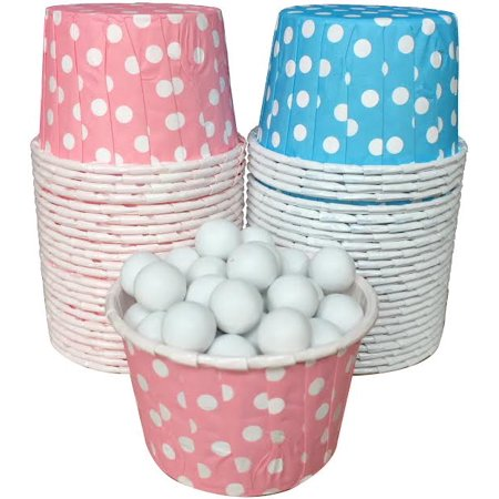 Pink and Blue Polka Dot Candy/Nut Cups  48 Pack](Pink And White Polka Dot Paper Plates)