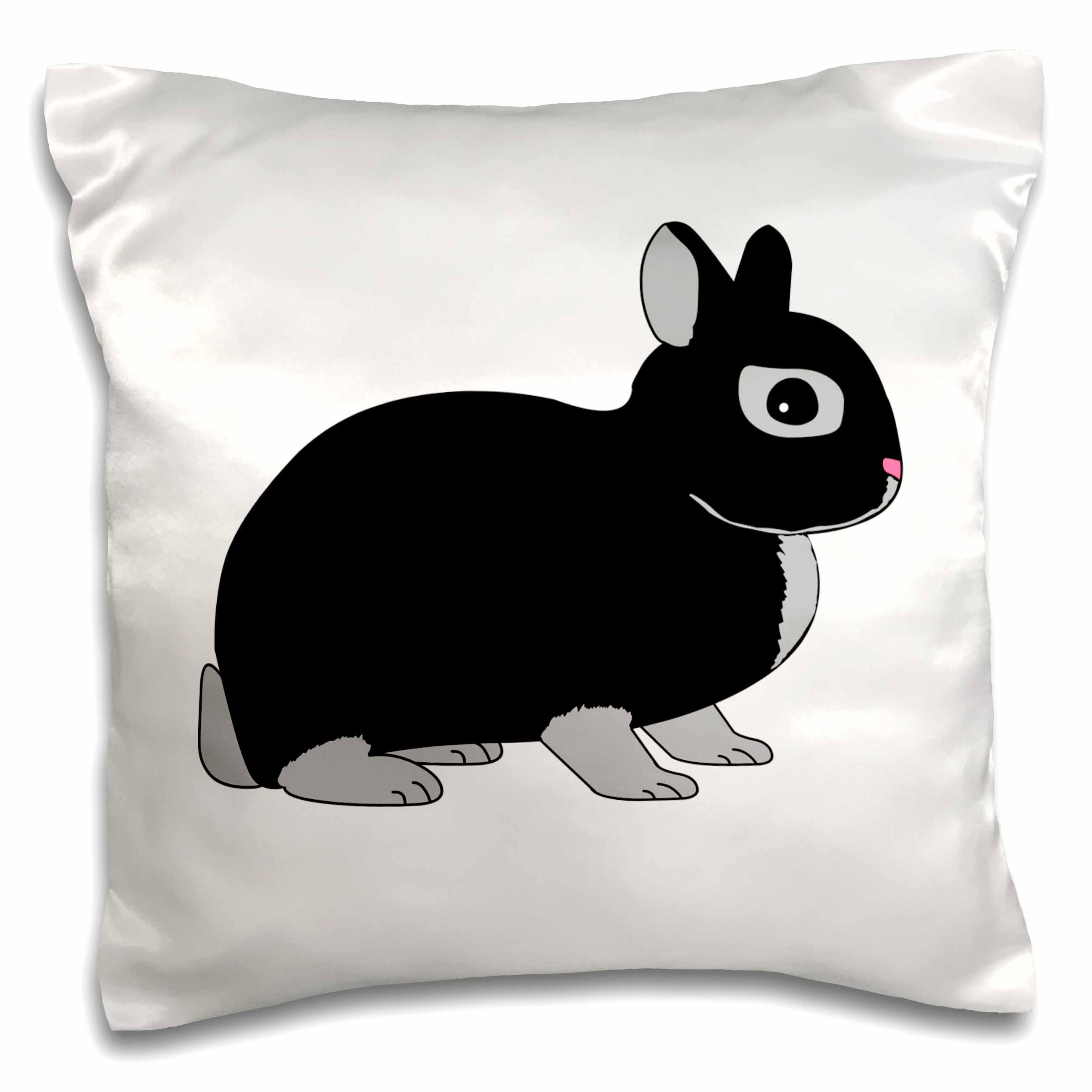 3dRose Netherland Dwarf Rabbit Silver Marten Design, Pillow Case, 16 by 16-inch