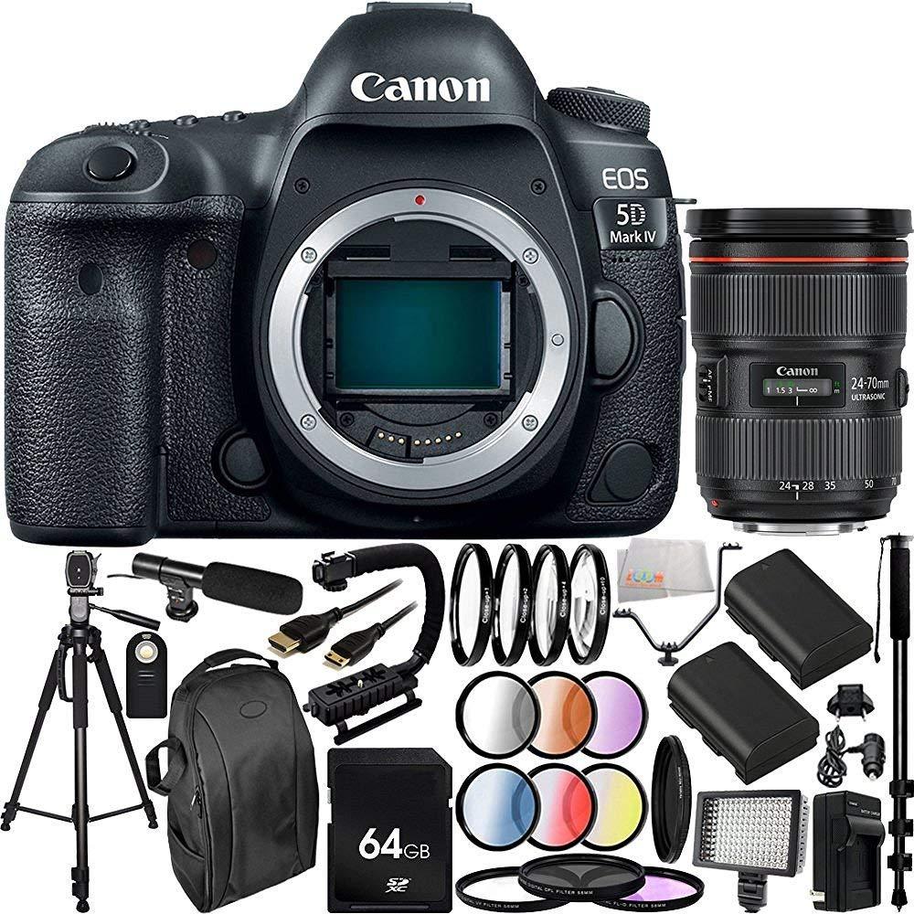 Canon EOS 5D Mark IV appareil photo reflex num?rique avec EF 24-70 mm f / 2,8L II USM Lens - Version internationale (Pas de garantie) 30PC Ensemble d'accessoires. Carte m?moire 64Go Comprend 2 + rempl - image 8 de 8