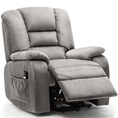 Power Lift Recliner Chair for Elderly- Heavy Duty and Safety Motion Reclining Mechanism-Antiskid Fabric Sofa Living Room Chair with Overstuffed Design ()