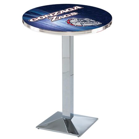 Holland Bar Stool L217C3636Gonzga 36 in. Gonzaga Bulldogs Pub Table with 36 in. Top, Chrome - image 1 of 1