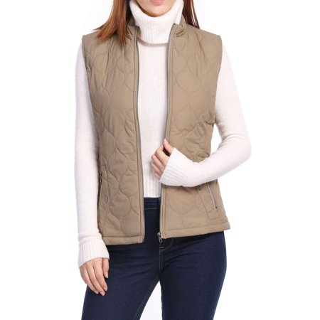 Chest Pocket Embroidered Vest (Women's Zip Closure Stand Collar Mock Pockets Quilted Vest)