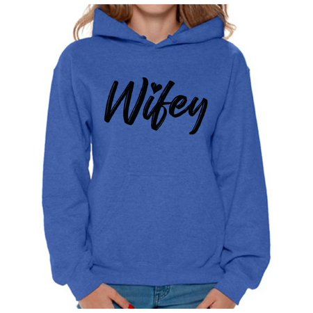 Awkward Styles Wifey Hooded Sweatshirt Wifey Hoodie for Women Valentine's Day Gifts for Wife Honeymoon Outfit Valentine Hooded Sweater Wife Hoodie Sweatshirt Cute Gifts for New Wife Matching Couples - Matching Couple Halloween Outfits