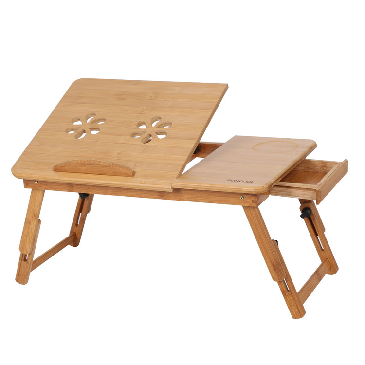 Walfront Laptop Table Portable Standing Desk Notebook Stand Reading Holder for Bed, Bed Tray Table with Foldable Legs