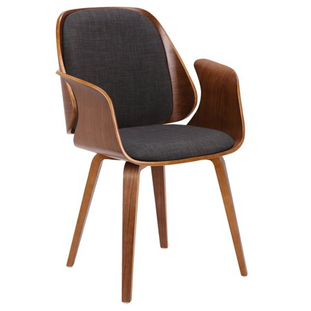 Armen Living Tiffany Mid-Century Dining Chair in Charcoal Fabric with Walnut Veneer Finish Chain Tiffany Style Necklace