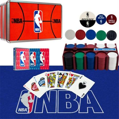 10-8680 NBA 200 Chip Poker Set with Collector inchs Tin - withCards Felt