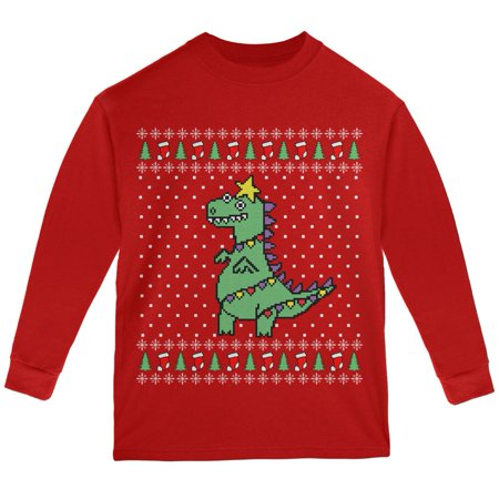 Big Tree Rex T Rex Ugly Christmas Sweater Youth Long Sleeve T Shirt](Ugly Christmas Sweater Tree)