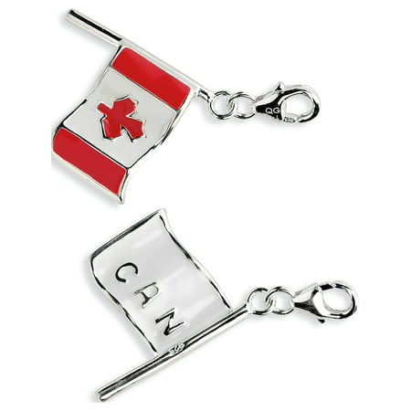 - Leslies Fine Jewelry Designer 925 Sterling Silver 3-D Enameled Canadian Flagw/Lobster Clasp (16x41mm) Pendant Gift