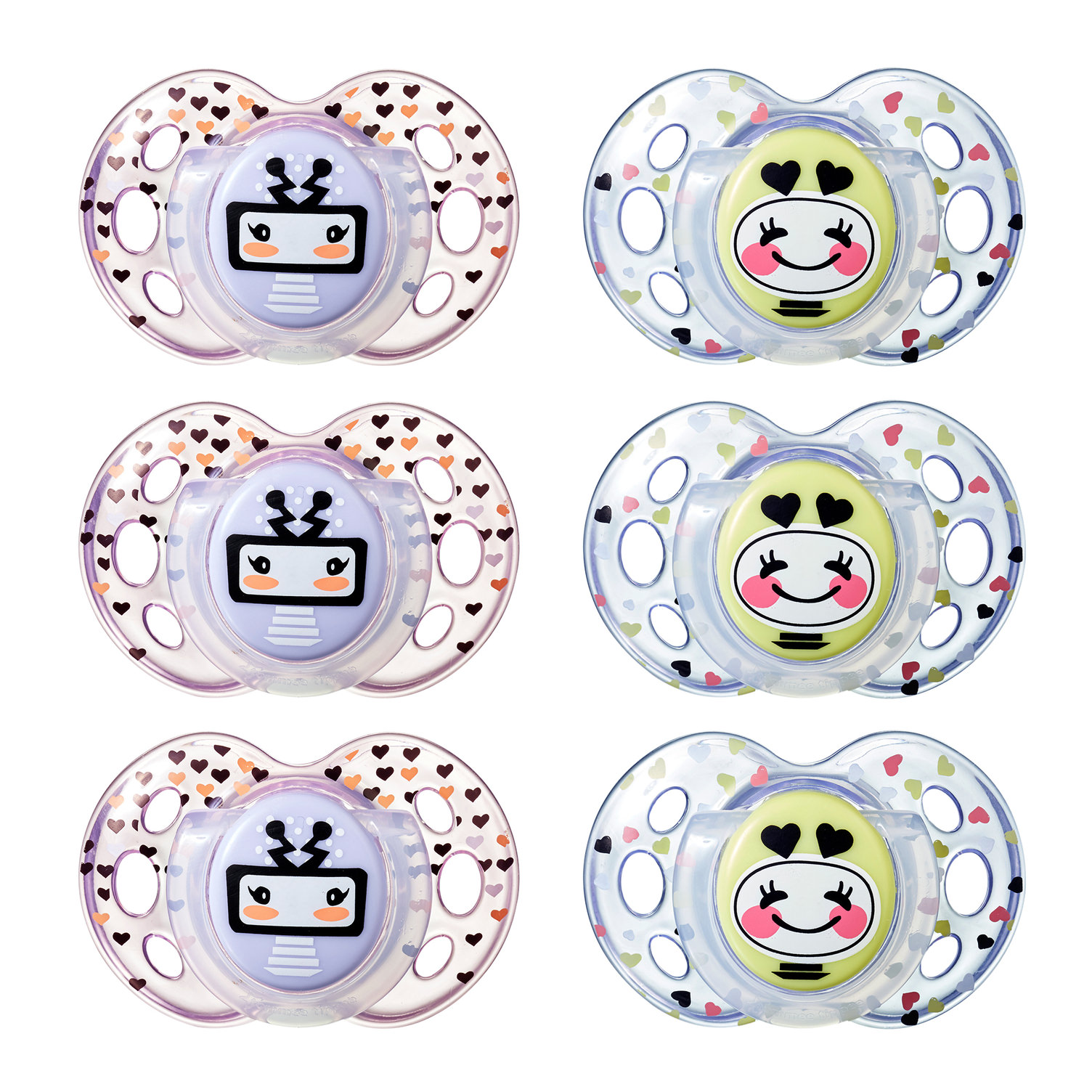 Tommee Tippee Closer to Nature, Fun Style Toddler Pacifier, 18-36m, 6pk, Girl