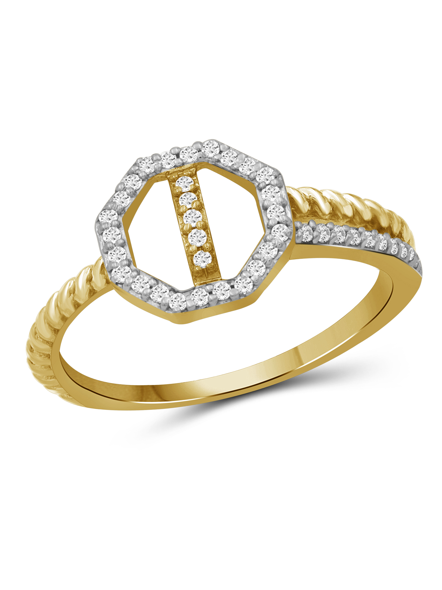 15 Carat T.W Yellow And White Diamond Sterling Silver Octagon Ring