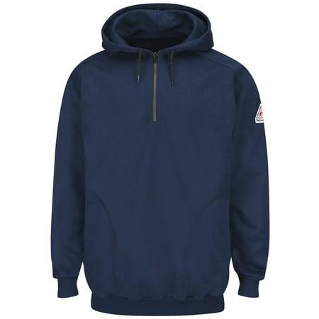 Navy Pullover Hooded Fleece 14 Zip Sweatshirt