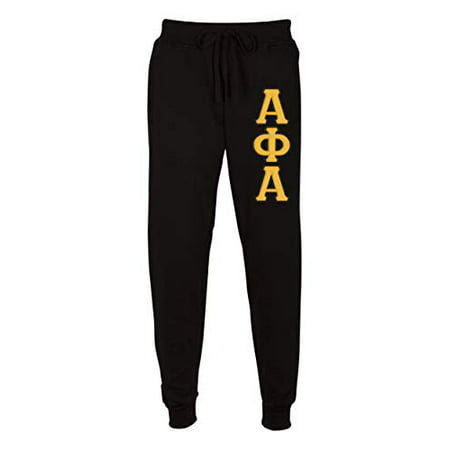 Fashion Greek Alpha Phi Alpha Embroidered Twill Letter Joggers Black Gold Small