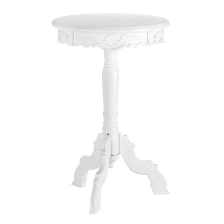 Round Patio Dining Table, Mini Rococo Outdoor Accent Side Patio End Table,  White ()