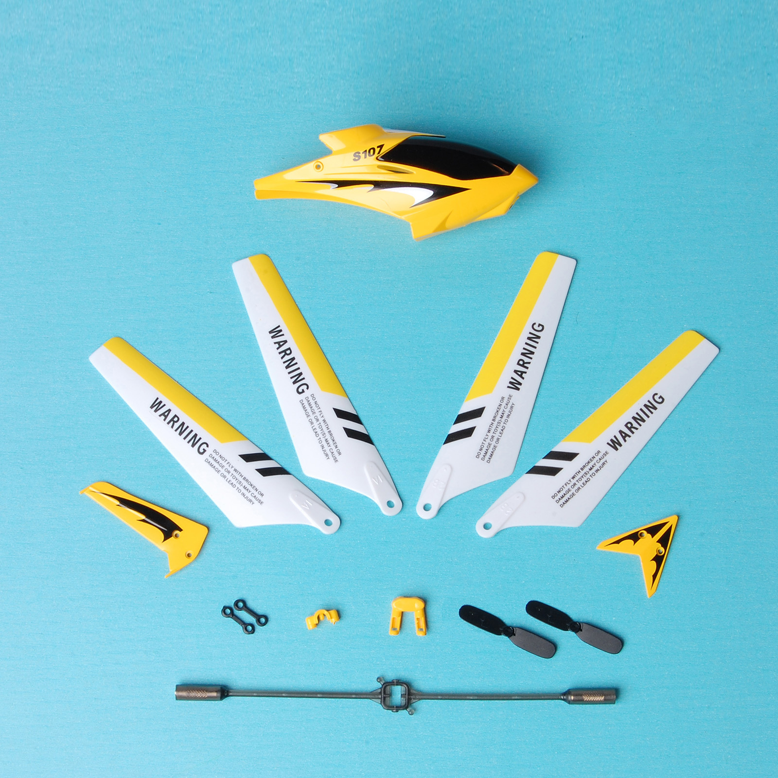 Yellow Syma S107G RC Helicopter Spare Parts Set Headcover Main Blades Tail Decorations Connect Buckles Balance Bar Tail Blades Main shaft