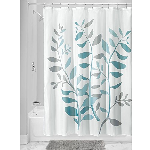 Idesign Laurel Fabric Polyester Shower, Shower Curtains Gray And Blue