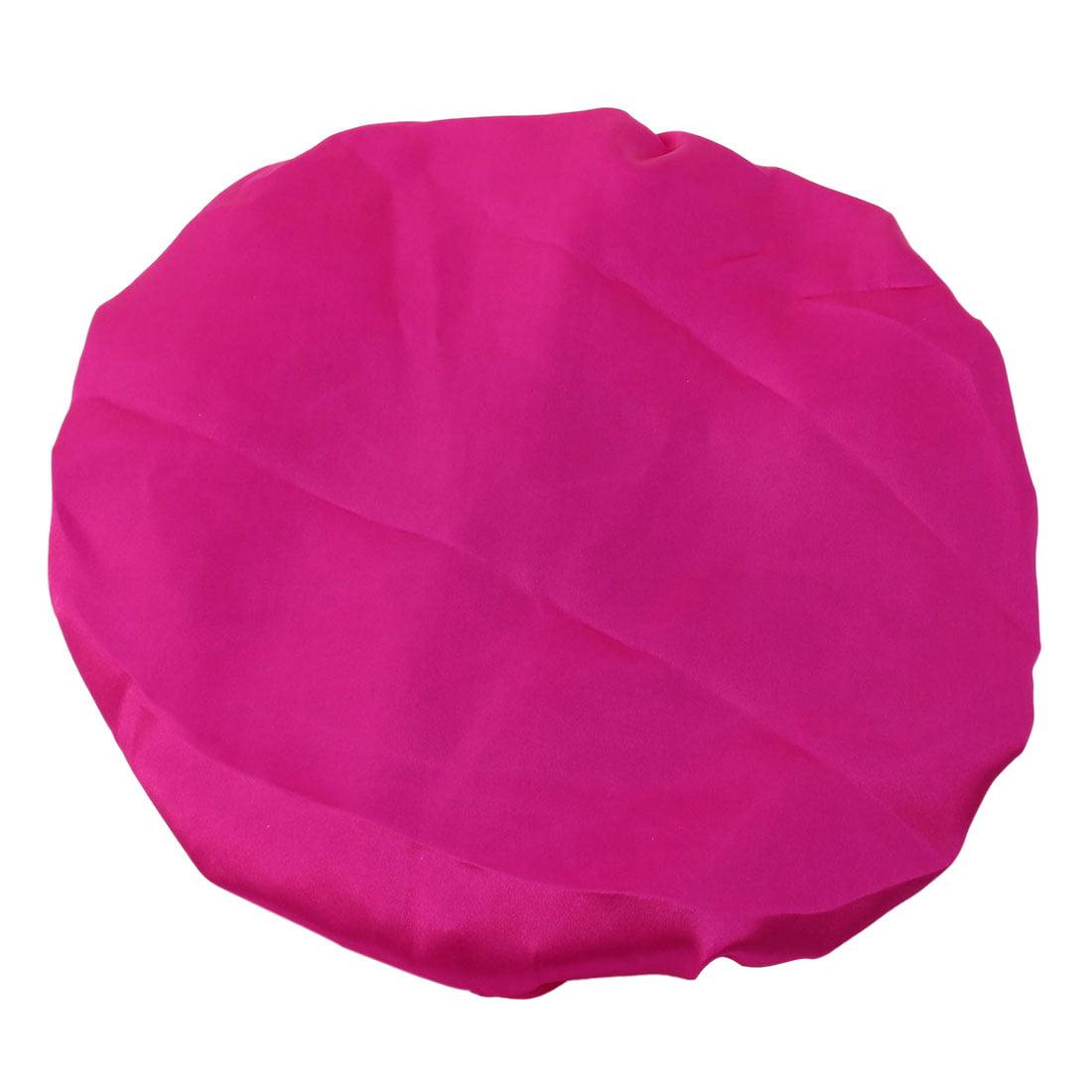 Women Satin Hair Protector Water Resistant Elastic Bathing Shower Cap Fuchsia