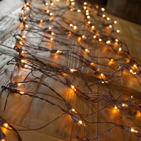 2 pcs christmas lights net lights brown wire 2x8 ft 150 bulbs plug in clear