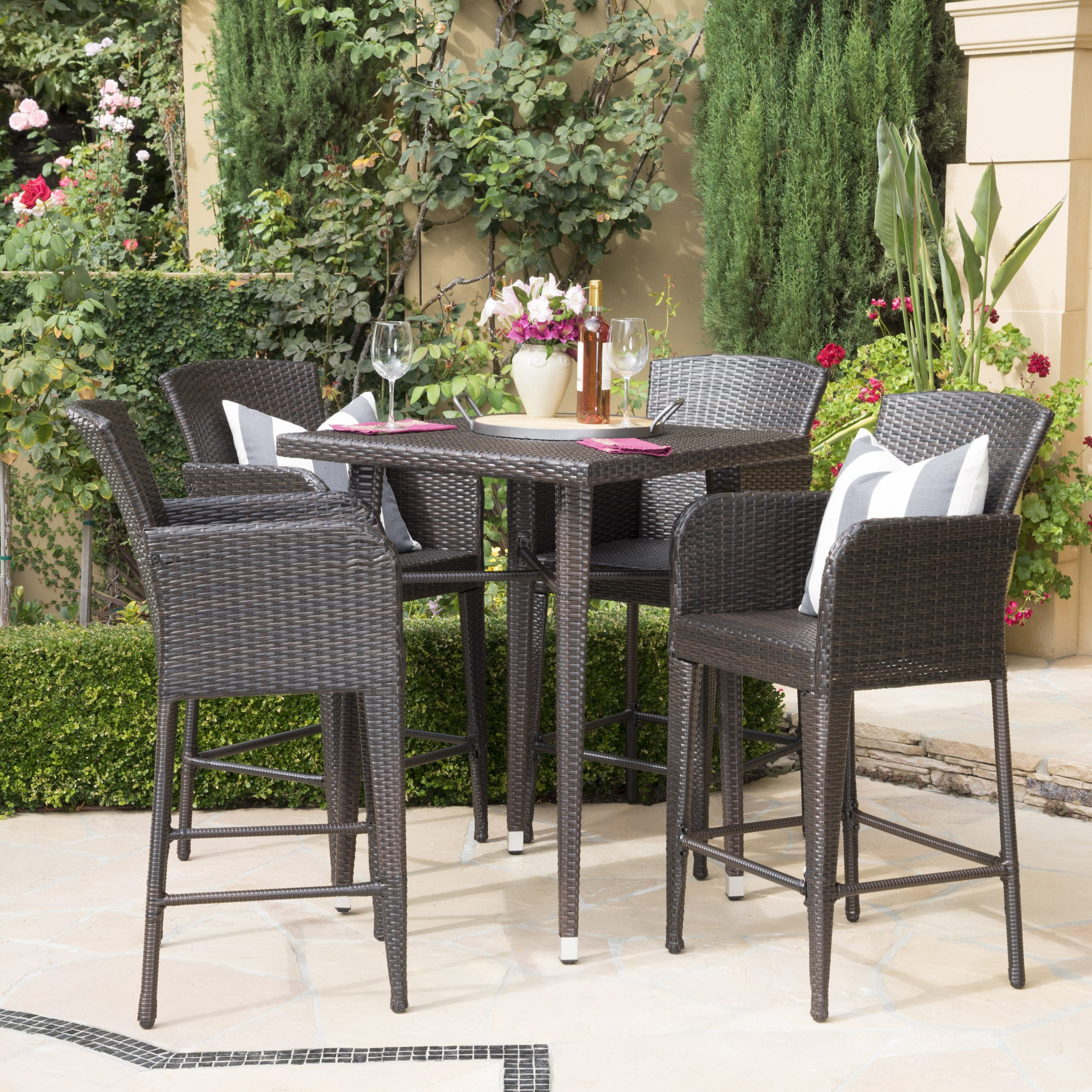 Christopher Knight Home Landis Outdoor 5-piece Wicker 32-inch Square Bar Set by
