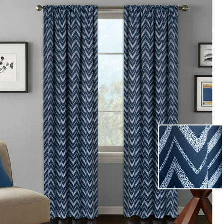 Better homes and gardens textured chevron room darkening curtain panel for Chevron curtains in living room