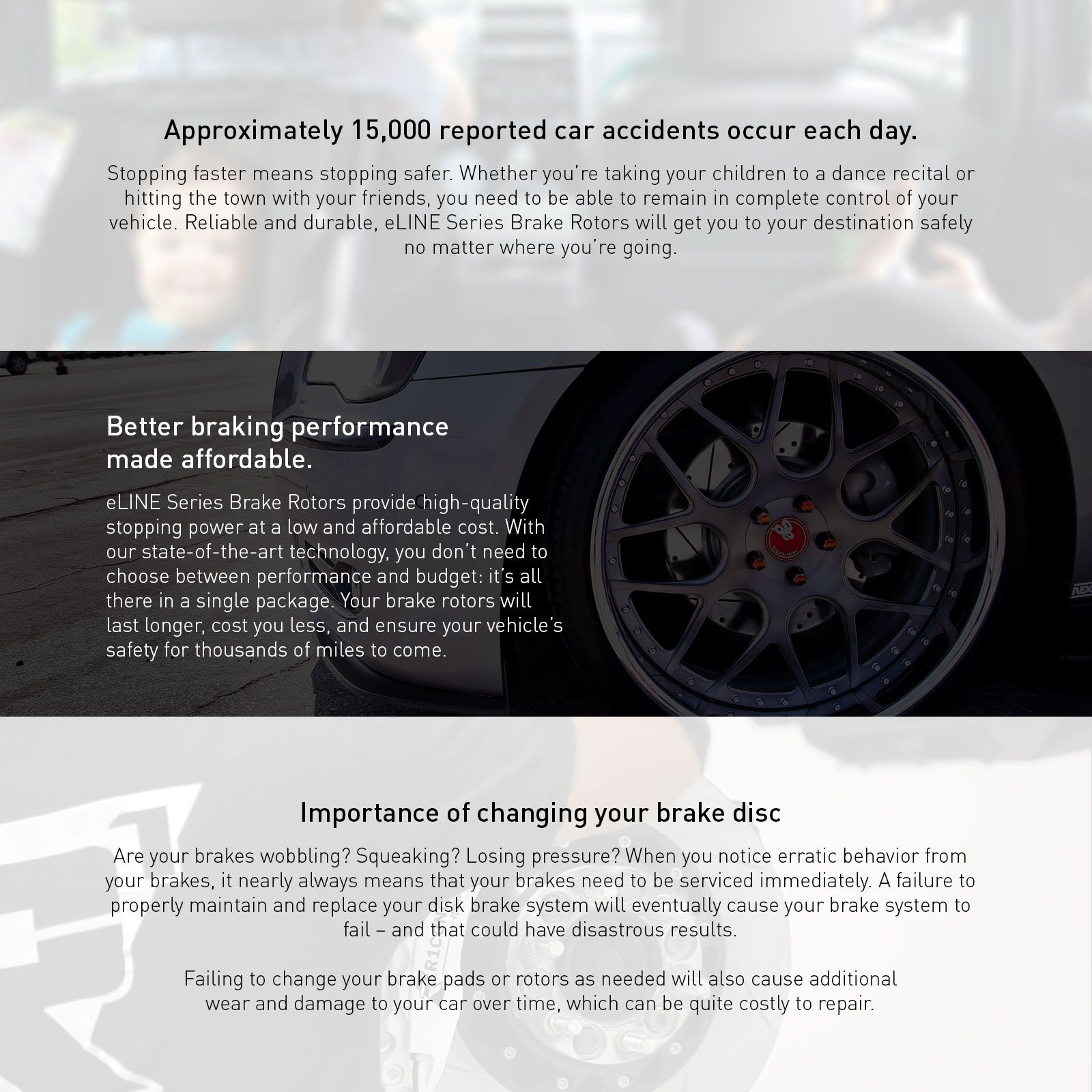 COMPLETE KIT eLine Replacement Brake Rotors /& Ceramic Brake Pads