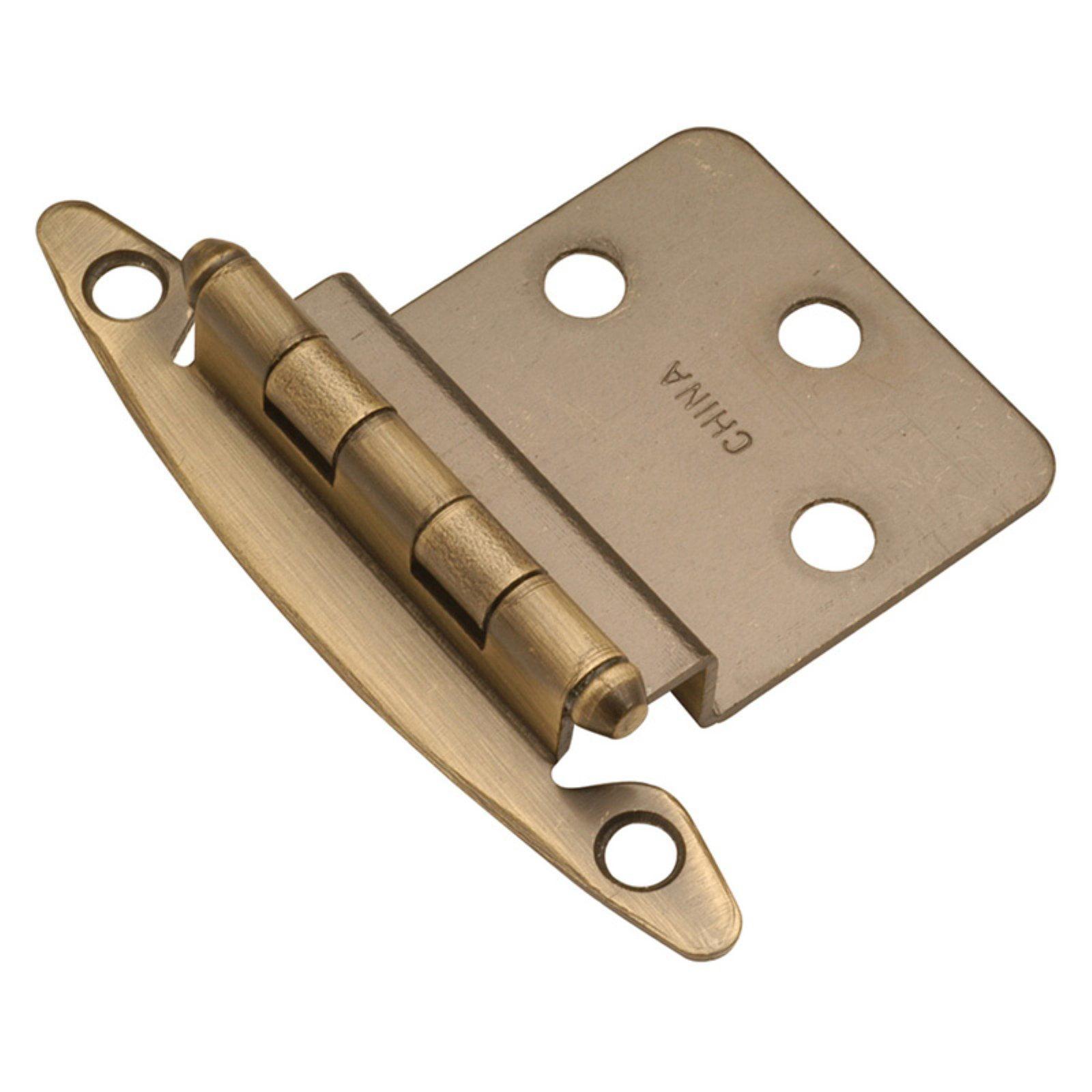 "Semi-Concealed Flush Mount 0.38"" Offset Hinge (Pack of 2) - Finish: Antique Brass"