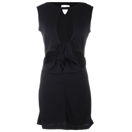 S/M Fit Black Open Front Single Breasted Cut Midriff Short Dress