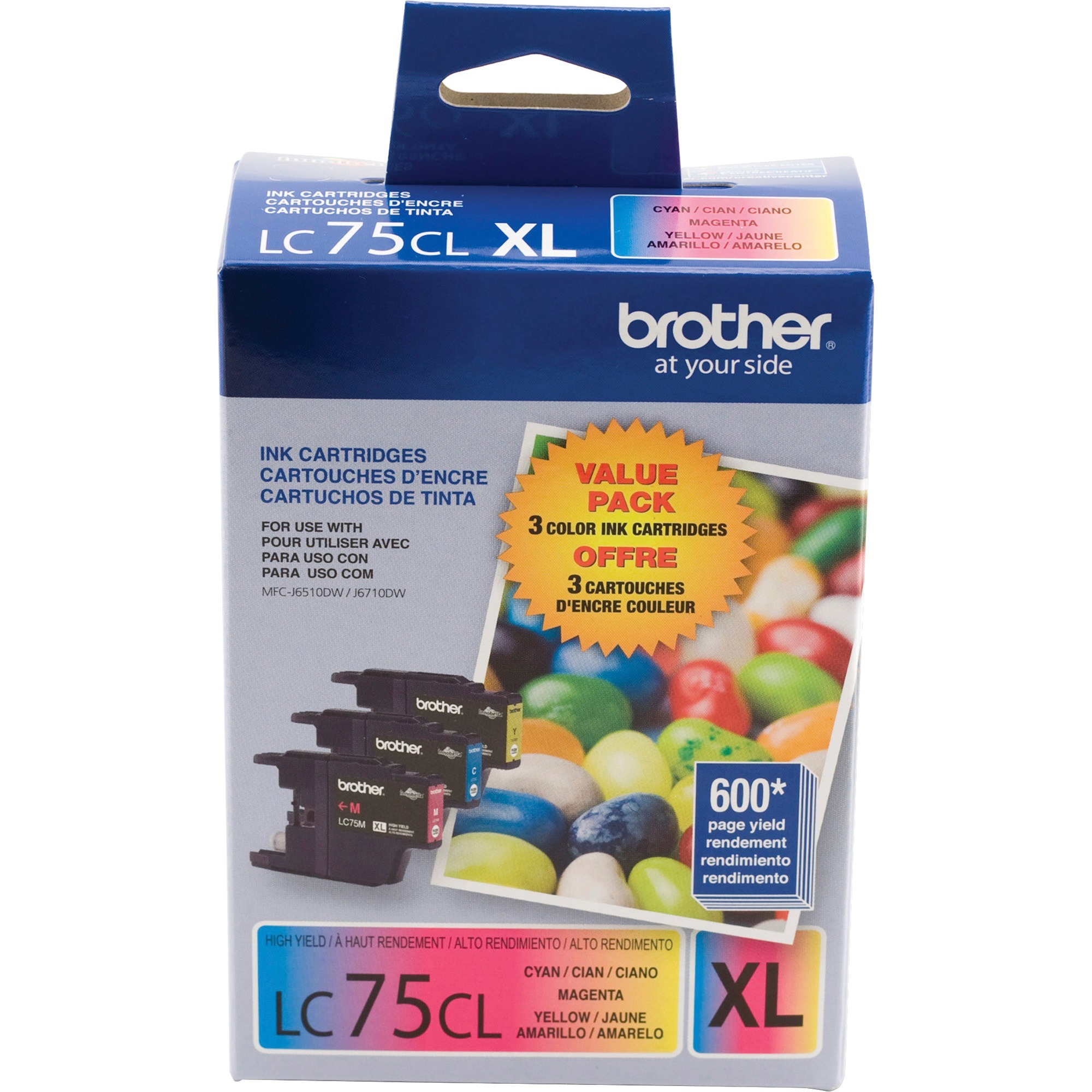 Brother LC753PKS Innobella High-Yield Ink, Cyan/Magenta/Yellow, 3/PK