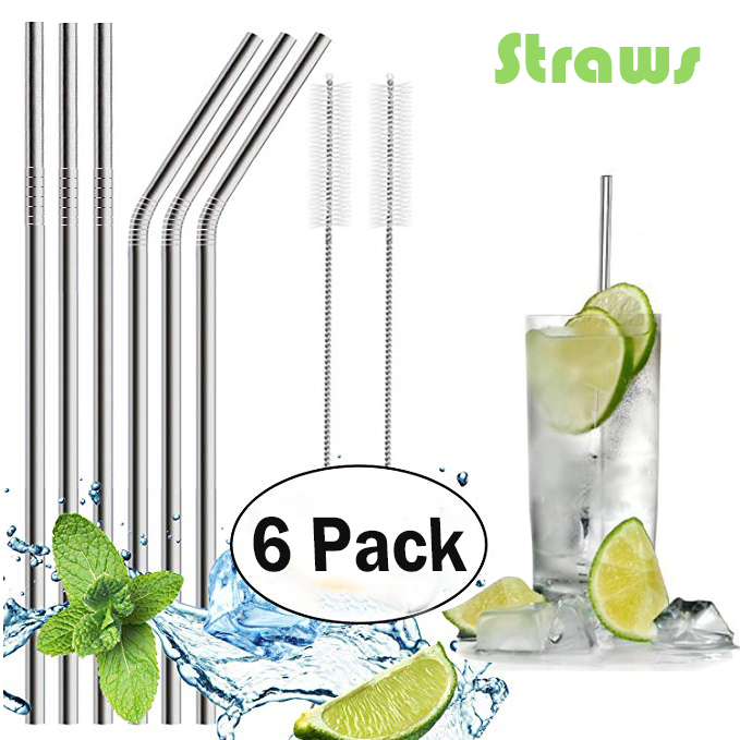 Stainless Steel Drinking Straws, Fits Ozark Trail 20 Ounce Tumbler - Strong Reusable Eco Friendly, Set of 6 with 2 Cleaning Brushes
