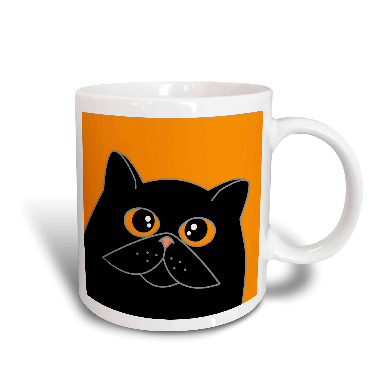 3dRose The Curious Cat Black with Orange Eyes Orange, Ceramic Mug, 11-ounce