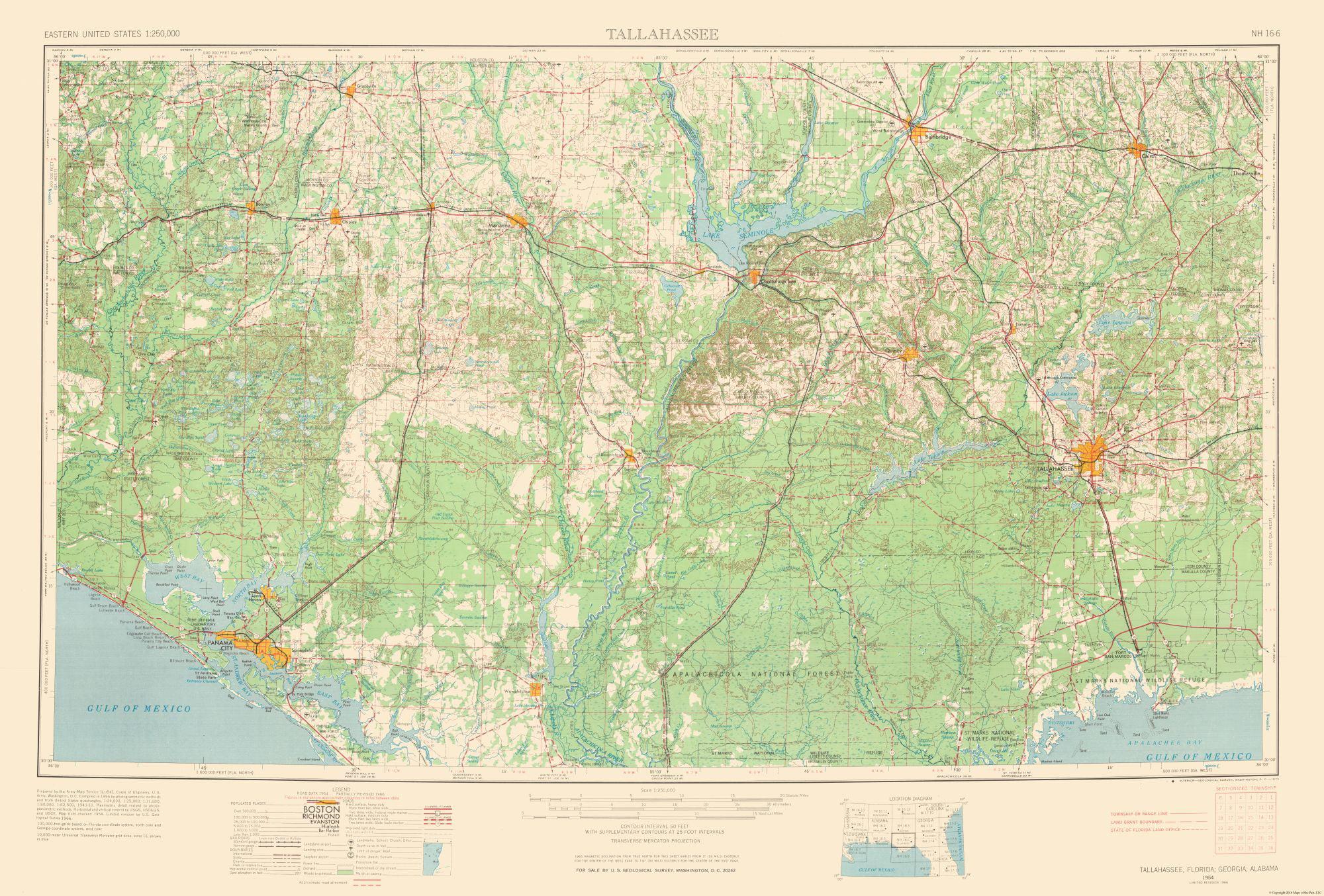 Topographic Map - Tallahassee Florida Quad - USGS 1954 - 33.98 x 23