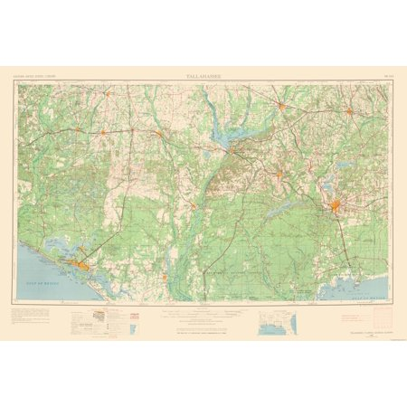 Topographic Map - Tallahassee Florida Quad - USGS 1954 - 33.98 x 23
