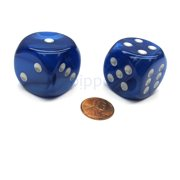 Chessex Velvet 30mm Large D6 Dice, 2 Pieces - Blue with Silver Pips #DL3026