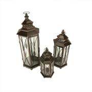 "Set of 3 Brown Brush Victorian Inspired Ornate Pillar Candle Holder Lanterns 25.5"""