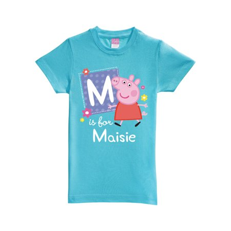 Personalized Peppa Pig Alphabet Girls' Aqua Fitted (Aqua Girls Shirt)