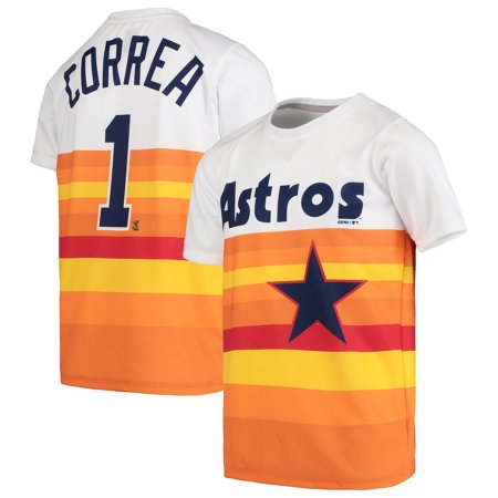 separation shoes dacc0 68325 Carlos Correa Houston Astros Majestic Youth Cooperstown Collection  Sublimated Jersey T-Shirt - Orange