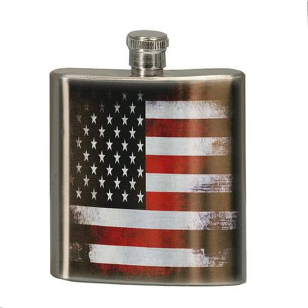 KuzmarK 6 oz. Stainless Steel Pocket Hip Liquor Flask - American - American Flag Flask