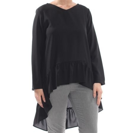 Verona Sleeve (VERONA Womens Black Ruffled Long Sleeve Top  Size: L )