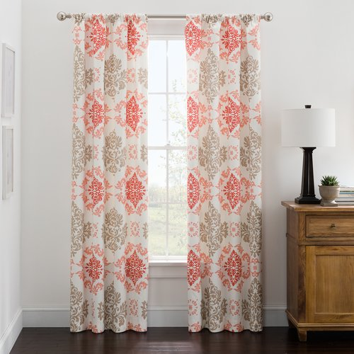Mainstays Microfiber Print Foam-Back Single Panel Curtains, Coral Damask