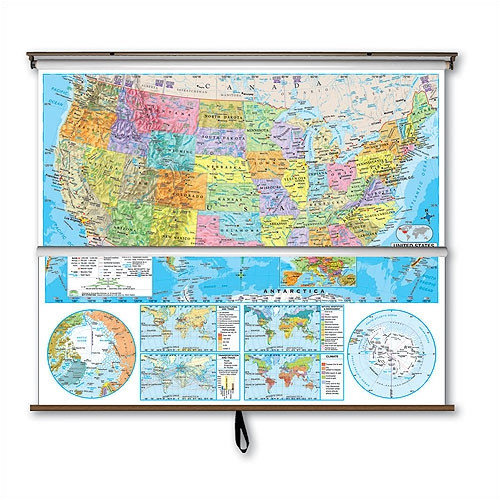 Universal Map Advanced Political Map Combo - U.S. / World with Backboard
