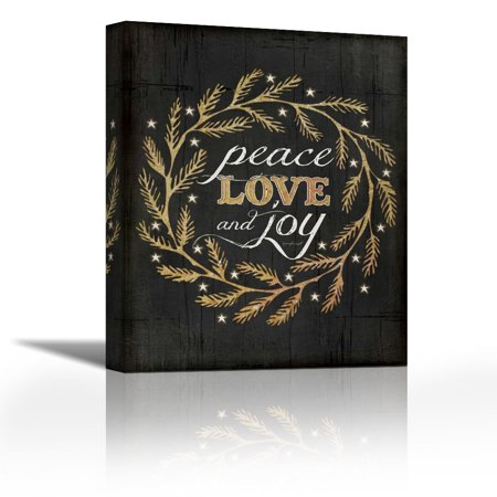 Peace, Love and Joy - Contemporary Fine Art Giclee on Canvas Gallery Wrap - wall décor - Art painting - 17 x 21 Inch - Ready to Hang