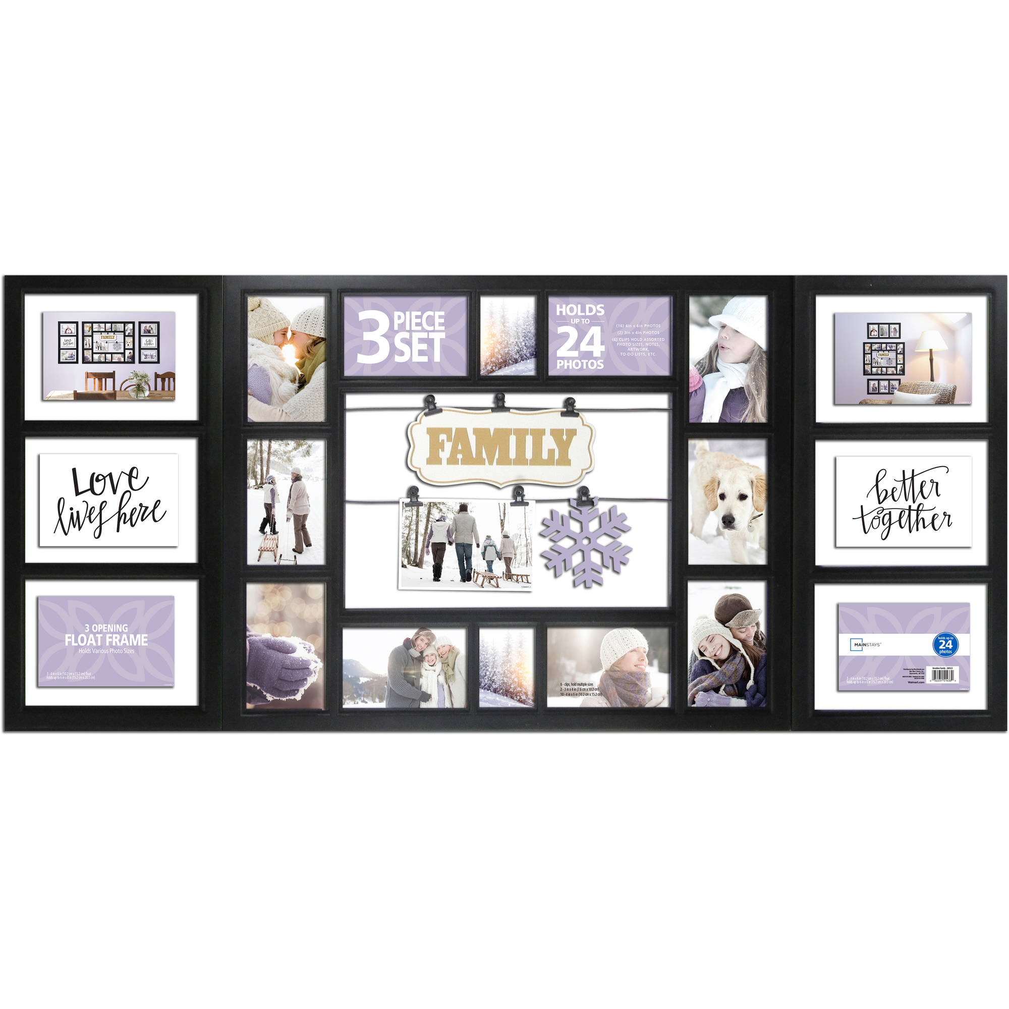 Mainstays 3-Piece Frame Set, 24-Opening Black, Family - Walmart.com