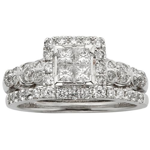 Sofia  14k White Gold 1ct TDW IGL Certified Diamond Princess-cut Bridal Ring Set