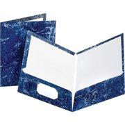 Oxford Marble Laminated Portfolios, Navy Blue, 25 / Box (Quantity)