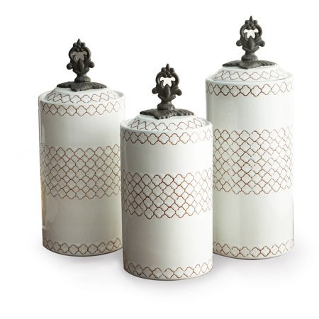 Ivory Canister Set (White Set Of 3 Canisters 12.41