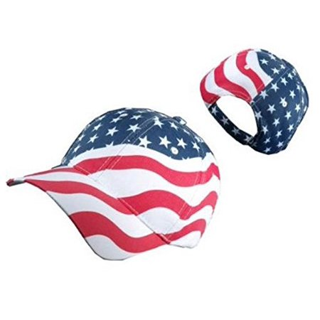 American Flag Patriotic Flag Baseball Cap/ Hat in Red, White and Navy Blue Stars and Wavy