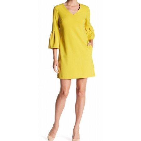 Donna Morgan NEW Mustard Yellow Womens Size 14 Bell Sleeve Shift Dress